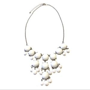 Silver and white statement necklace